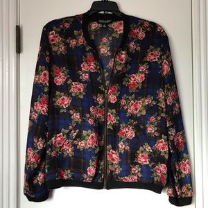 About A Girl Floral/Plaid Sheer Jacket